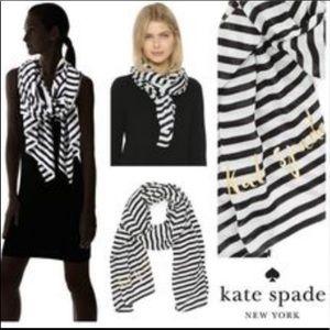 KATE SPADE SCARF Striped Dark Navy white Viscose